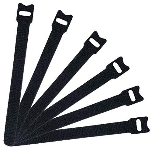 (Attmu 50 PCS Reusable Fastening Cable Ties, Microfiber Cloth 6-Inch Hook and Loop Cord Ties, Black)