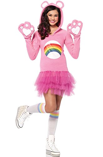 Mememall Fashion Official License Care Bear Cheer Bear Teen Child Costume (Adult Care Bears Cheer Bear Costume)