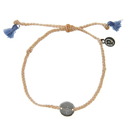 Locket Anklet - Pura Vida Silver Compass Braided Blush Bracelet - Plated Charms, Adjustable Band - 100% Waterproof