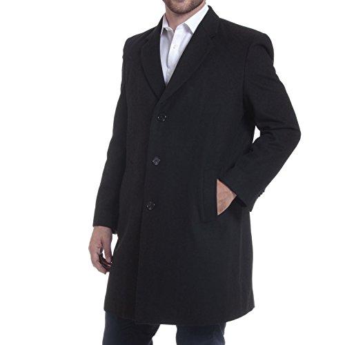 "Alpine Swiss Luke Mens 3 Button Tailored Wool 37"" Walker Car Coat Black Medium"