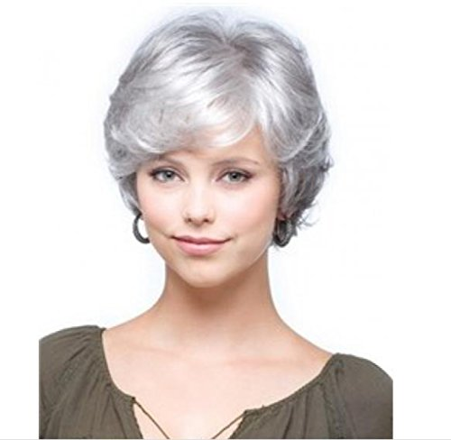 Gray Hair Wigs (SmartFactory Short Gray White Natural Wavy Fluffy Curly Human Hair Wig for Women and Grandma)