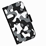 Hairyworm - Black grey and white camouflage print Sony Xperia E1 leather side flip wallet cell phone case, cover with card slots, money slot and magnetic clasp to close.