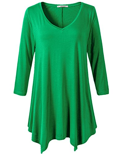 JollieLovin Womens Plus Size 3/4 Sleeve Loose-Fit T Shirt For Leggings Tunic Top (Forest Green, 3X) (Plus Size Stretch T-shirt)