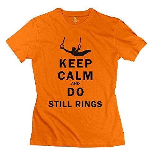 FQZX Women's Keep Calm Do Still Rings T Shirt Large Orange