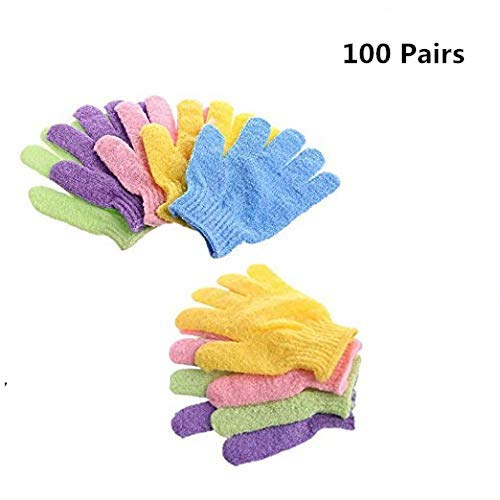 100 Pair Wholesale Lot Double Side Durable Exfoliating Skin Spa Bath Scrubs Bathing Gloves by HomeNite