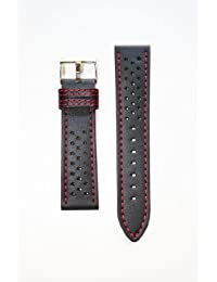 22MM Black Rally Style with Red Stitching Leather Watchband and Water-Resistant Lining