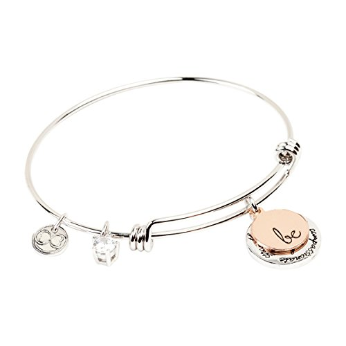 - Expandable Inspirational Jewelry Women Charm Stackable Bracelet,