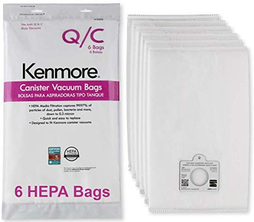 Bag Kenmore Vacuums - Kenmore HEPA Vacuum Bags C Q - Kenmore and Sears Style Q/C Bags for Canister Vacuum Cleaners. Also Fits Kenmore 5055, 50557, 50558. Part Number 20-53292. Package of 6 Premium HEPA Synthetic Bags.
