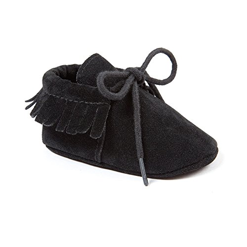 OOSAKU Baby Boys Genuine Leather Soft Bottom Lace up Moccasins Crib Shoes (6-12 Months, Black)
