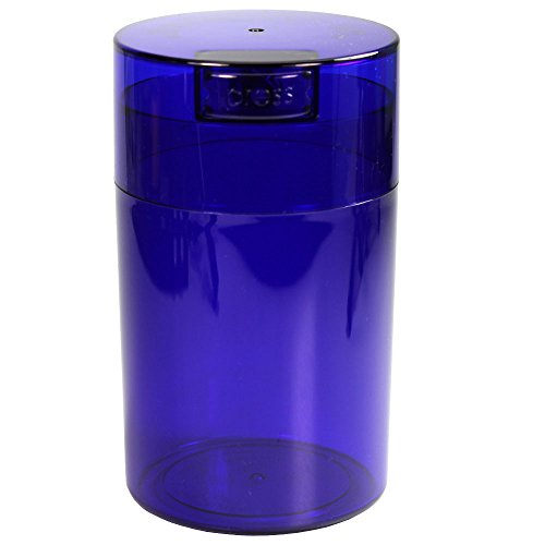 Tightvac - 1 oz to 6 ounce Airtight Multi-Use Vacuum Seal Portable Storage Container for Dry Goods, Food, and Herbs - Blue Tint Cap & Body by Tightpac America, Inc.