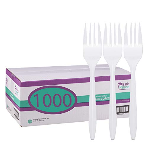 Count Medium Weight Plastic Cutlery - Disposable Plastic Cutlery in Bulk, Medium Weight & White (Case of 1000) by Plastic Palace (Forks)
