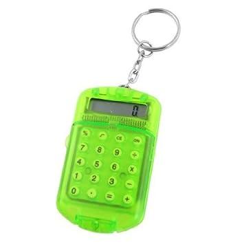 rot Kleiner Taschenrechner als Schl/üsselanh/änger mit Uhrzeit-Anzeige