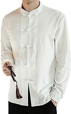 Hombres Collar de Pie Camisa Chaqueta Retro Estilo Chino Mezcla de Lino Abrigos Traje Tang Blanco XXXL: Amazon.es: Deportes y aire libre