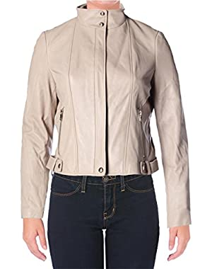 Calvin Klein Womens Leather Lined Leather Coat
