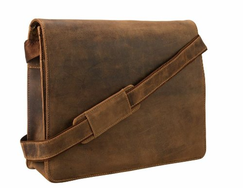 Visconti Visconti Leather Distressed Messenger Bag Harvard Collection, Tan, One ()