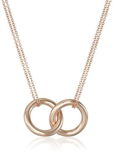 "14k Rose Gold Flashed Sterling Silver Interlocking Circles Pendant Necklace, 17"""