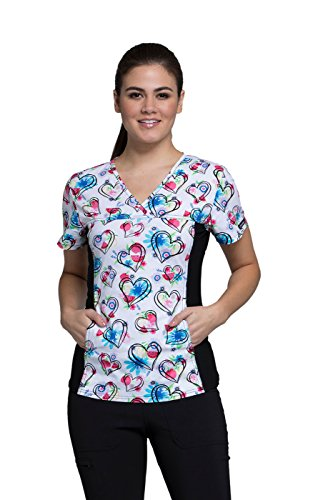 Cherokee Fashion Prints Women's V-Neck Heart Print Scrub Top X-Large Print