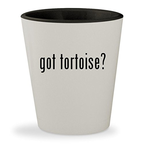 got tortoise? - White Outer & Black Inner Ceramic 1.5oz Shot Glass (Sulcata House Tortoise)