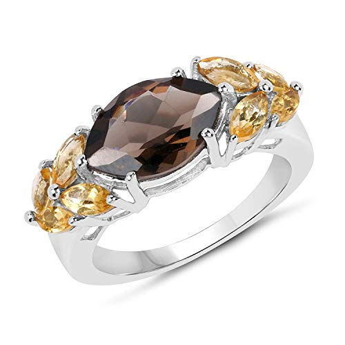Bonyak Jewelry Genuine Marquise Smoky Quartz and Citrine Ring in Sterling Silver - Size 8.00