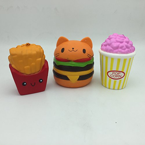 JUMBO SQUISHIES 3 PCS NEW Slow Rising Set (POPCORN / CHEESEBURGER / FRIES) Satisfying, Fun, Slow Squeeze Hand Wrist Toys for ALL AGES