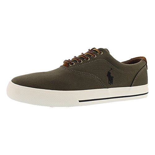 Polo Av Ralph Lauren Menns Vaughn Snøre Måte Sneaker Alger. sko; lerret;  Kombinasjonen lerret og semsket skinn ...
