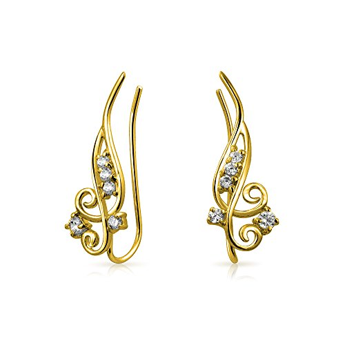 Modern Double Swirl Ear Pin Climbers Wire Climber Earrings Round CZ 925 Silver Gold Plated