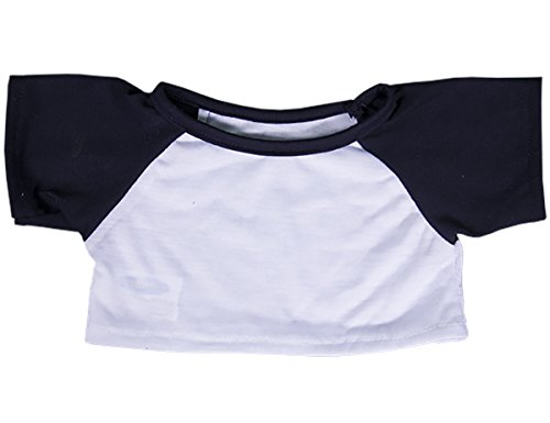 White Tee w/ Navy Blue Sleeves Teddy Bear Clothes Fits Most 14