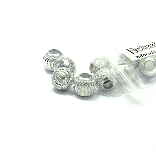 Cut Beads Aluminum Diamond - 10 Big 12mm Round Aluminum Large Hole European Beads with Silver Diamond Cut Accents