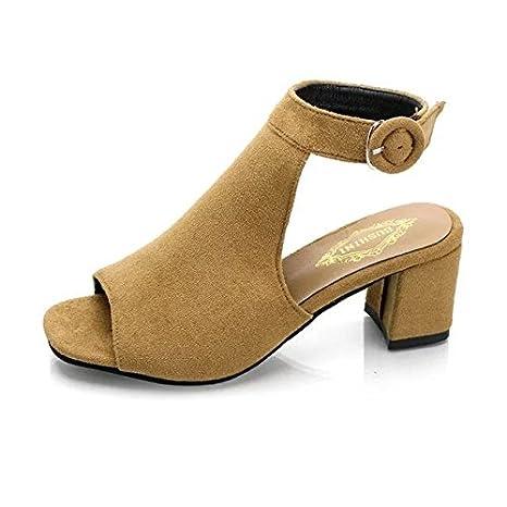 33d822a4dd488 Amazon.com : RUGAI-UE Korean version is rough with women's sandals ...