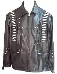 Men's Western Cowboy Fringed & Boned Cow Leather Biker Jacket Black