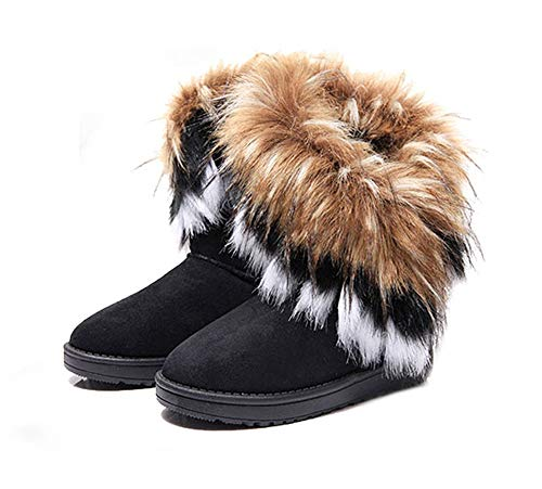 King Ma Women's Faux Fur Tassel Winter Snow Boot Suede Flat Ankle Boots Black (Fur Inserts For Boots)