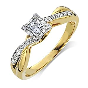 Engagement Diamond .330 CTW Round I color SI1 clarity 10k Yellow Gold Ring MADE IN THE USA
