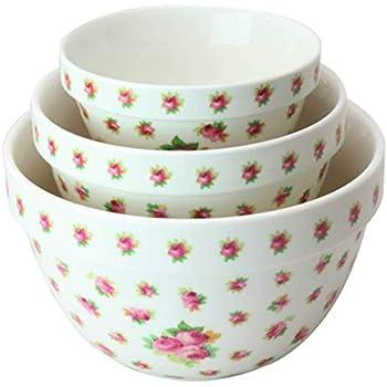 Amazon Com Pantry Size 3 Pc Nested Porcelain Mixing Bowl