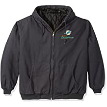 NFL Miami Dolphins Cumberland Canvas Quilt Lined Hooded Jacket, Navy, 4X