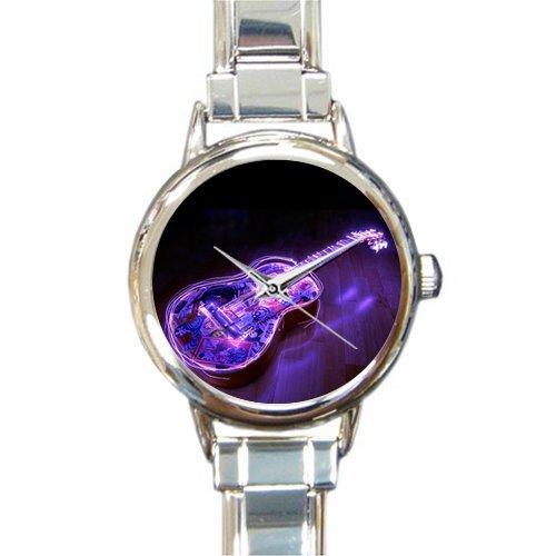 Hot Sale Christmas Day Gift Watch Guitar Music Notes Pattern Round Italian Charm stainless steel Watch