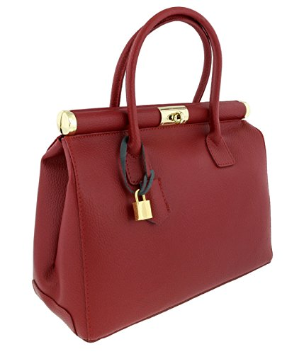 [HS Collection HS8005 BD MINERVA Cherry Red Satchel/Shoulder Bag] (Minerva Collection Fashion)