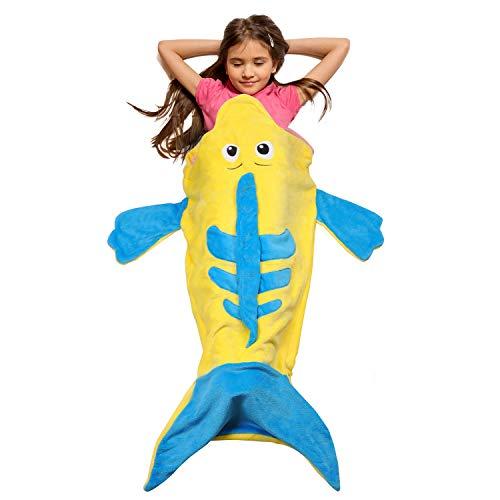 Catalonia Kids Hooded Wearable Flounder Snuggle Tail Blanket,Super Soft Plush Sleeping Bags for Toddler Children Teens Boys Girls, Gift Idea ()