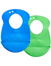 Tommee Tippee Easi-Roll Up Bib, BPA-free Crumb & Drip Catcher, Blue & Green, 2 Count (1 Pack)