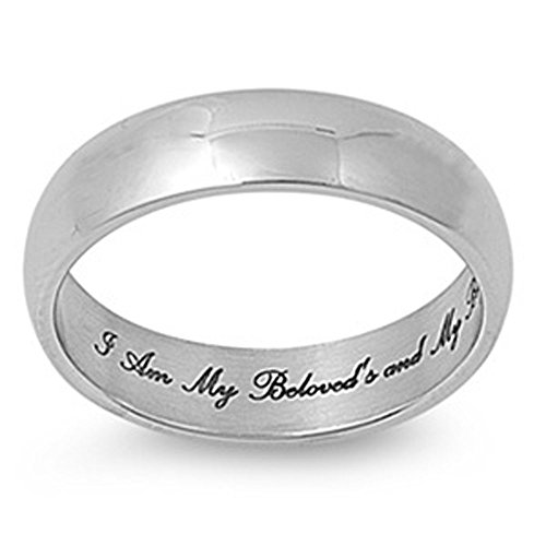 Jinique STR-0022 6mm 316L Stainless Steel I Am My Beloveds and My Beloved is Mine Design Fashion Ring; Comes with Free Gift Box
