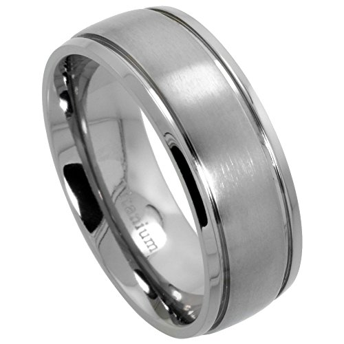 - 8mm Titanium Wedding Band Ring 2 Grooves Brushed Center Comfort Fit, size 8