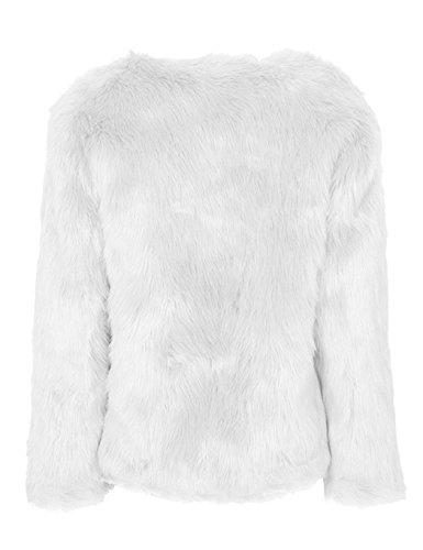 Femme Jacket Faux Blanc Manteau Fourrure Blouson Veste Longue Lonlier Simple Manche 48wqTId4