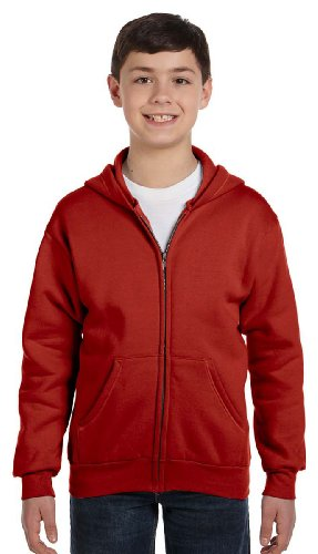 Hanes Comfortblend EcoSmart Full-Zip Kids' Hoodie Sweatshirt, Deep Red, Medium