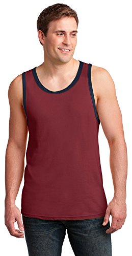(Anvil Mens 100% Ring Spun Cotton Tank Top, Large, Independence Red/Navy )