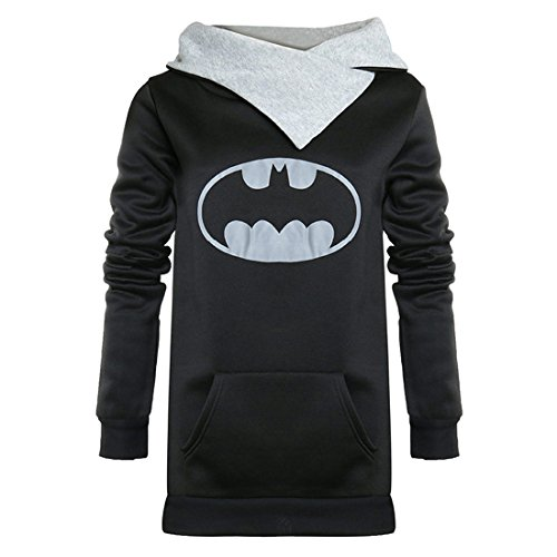 Women Batman Cottom top Hoodies Kangaroo Pocket Fleece Sweatshirt (Tag L = US 8/10) ()