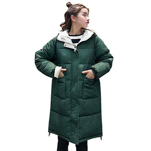 HhGold Abrigo de Invierno Abrigo de Damas, Moda para Mujer Invierno Cálido Manga Larga Abrigo de algodón con Capucha Chaqueta de Ocio al Aire Libre (Color ...