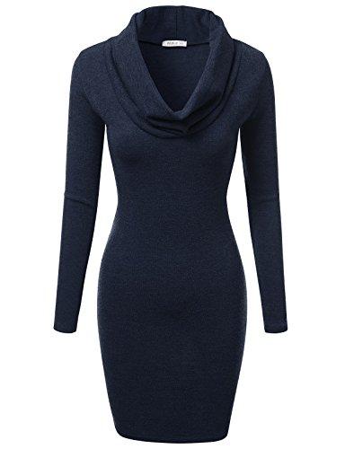 [J.TOMSON Women's Basic Slim Fit Cowl Neck Long Sleeve Knit Dress NAVY M] (Lana Kane Halloween Costume)