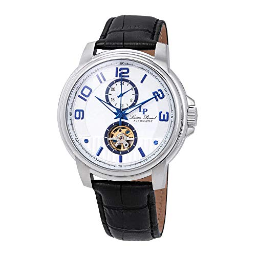 Lucien Piccard Open Heart Automatic Silver Dial Men's Watch LP-28001A-02S-BLA
