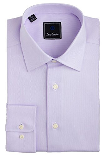 David Donahue Men's Royal Oxford Regular Fit Dress Shirt - Lilac: Size 16, 36/37 by David Donahue