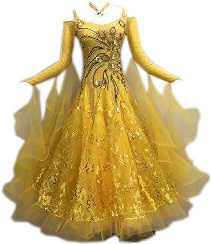 garudaサイズオーダー社交ダンスドレス 高級品 手作りキラキラ飾 上品デザイン 競技ワンピース 黄色 黄色 サイズオーダー