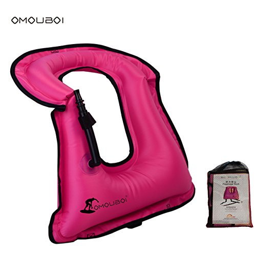 Life Jackets Omouboi Unisex Child Inflatable Snorkel Vest Snorkel Jacket Free Diving Safety Jacket Life ()